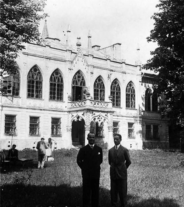 На світлині видно дах палацу ще до реконструкції. Фото початку ХХ ст.