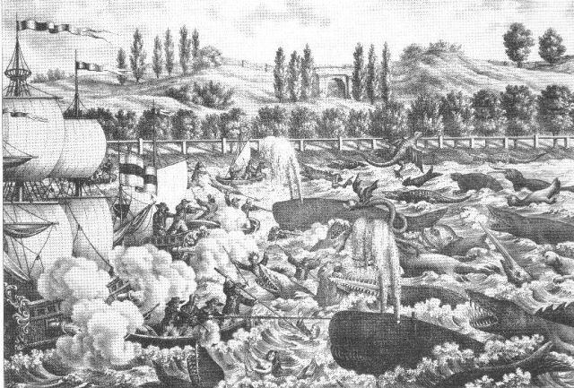 Боротьба з морськими потворами. Літографія К. Ауера, 1845 р.
