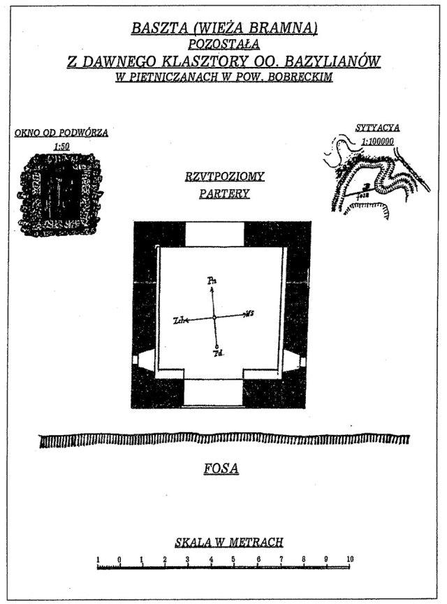 Вікно (вхід) П'ятничанської вежі. Схематиний план, ситуація і рисунок за Т.Мотловським