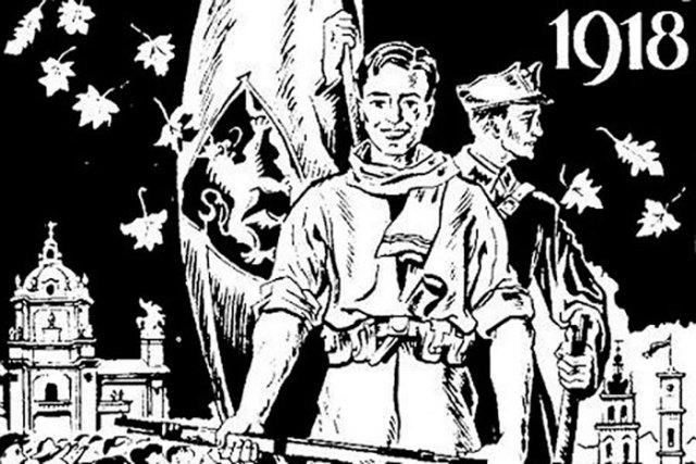 "Плакат на честь Листопадового чину. Джерело: <a href=""http://plus.lviv.ua/publ/21-1-0-645"">http://plus.lviv.ua/</a>"