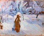 """Олекса Новаківський """"Зимовий пейзаж. Брошнів"""", 1909 р."""
