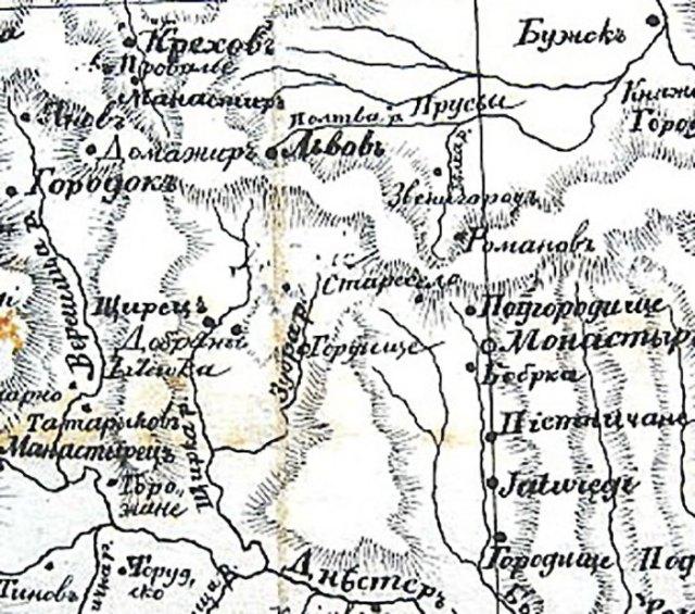 На світлині: фрагмент карти за Ізидором Шараневичем