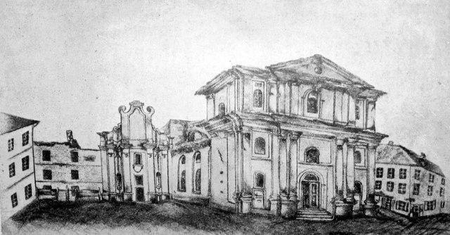 Колишній монастир Тринітаріїв, в котрому розмістився нововідкритий в 1784 році Львівський університет. Гравюра 1850 року