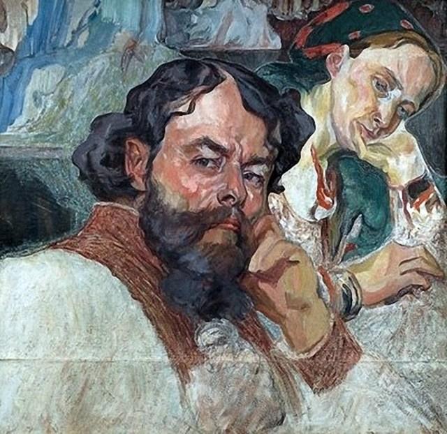Олекса Новаківський. Автопортрет з дружиною. 1910 р.
