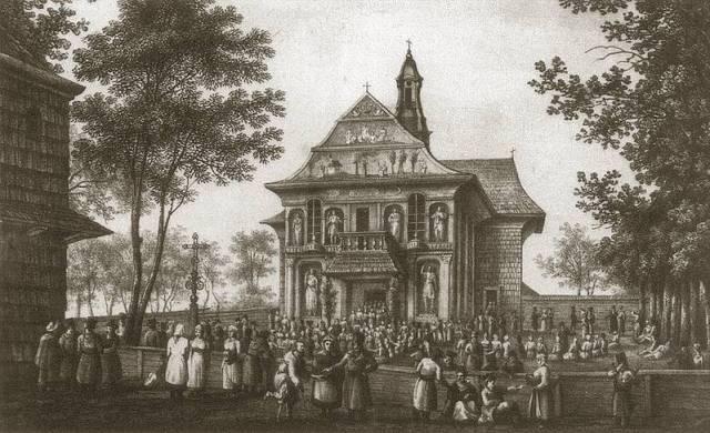 Проща в Кохавино. Літографія 19 ст. Автор Наполеон Орда