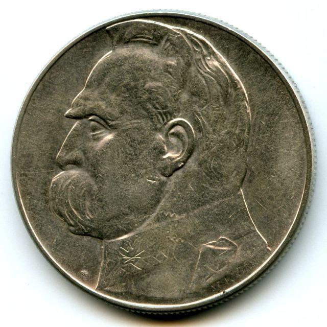 10 злотих 1935 року. Аверс