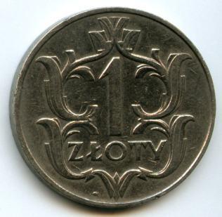 1 злотий 1929 року. Аверс