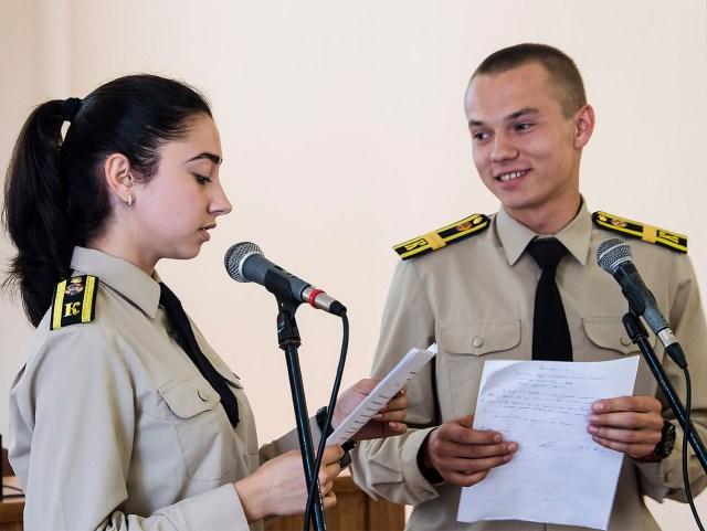 Актори театральної студії Університету безпеки життєдіяльності. Читання п'єси Баси Джанікашвілі. Фото: Ксенія Янко
