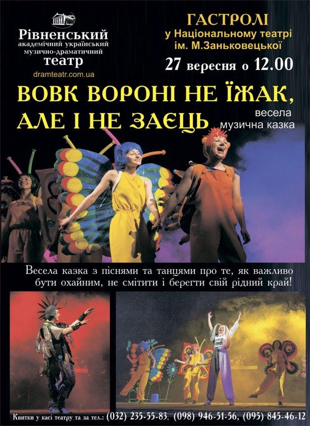 Афіша казки «Вовк вороні не їжак, але і не заєць»