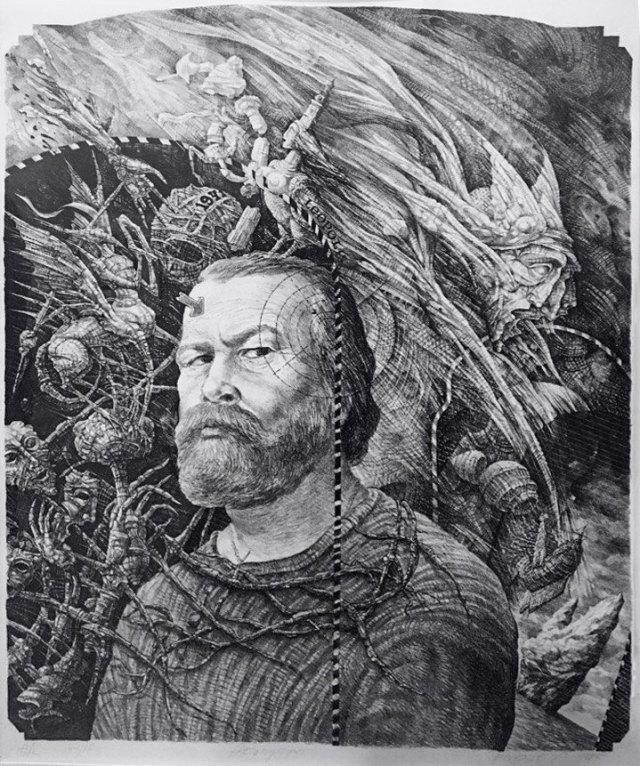 Володимир Пінігін «Автопортрет», автолітографія, 55х44.5 см, 1985 р., фото зроблене на персональній виставці «Рік без генія», яка тривала з 21 вересня до 9 жовтня 2016 р.