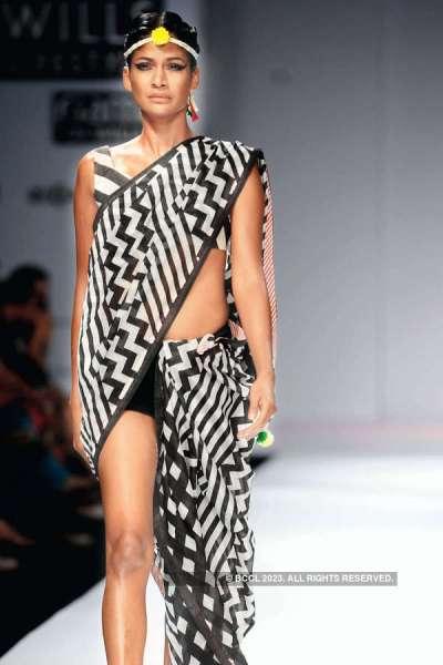 Carol Gracias showcases a creation by designer Anupama ...