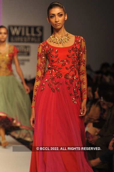 A model showcases a creation by designer Pallavi Singhee ...