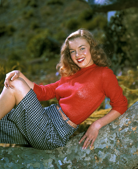 Norma Jeane Dougherty, Red Sweater in Sycamore Branch At Gene Hanson's, Kodachrome 4x5, 12 Mar 1946, 17x22