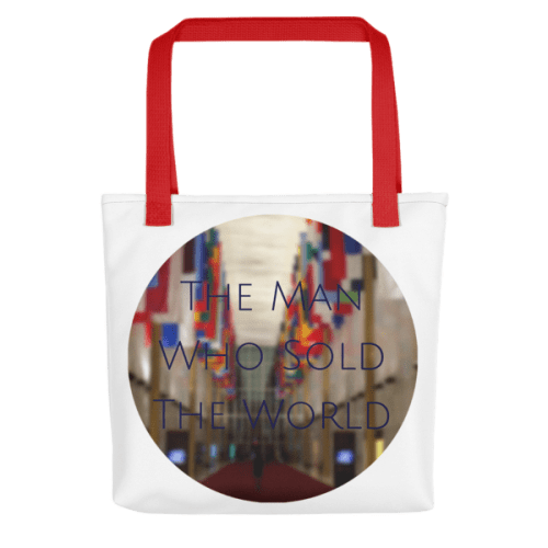 """The Man Who Sold the World"" by David Bowie - photo of The Kennedy Center Hall of Nations by Carla Durham - Photomusicology - tote bag - red handle"