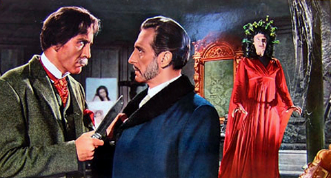 Christohper Lee and Peter Cushing in THE GORGON
