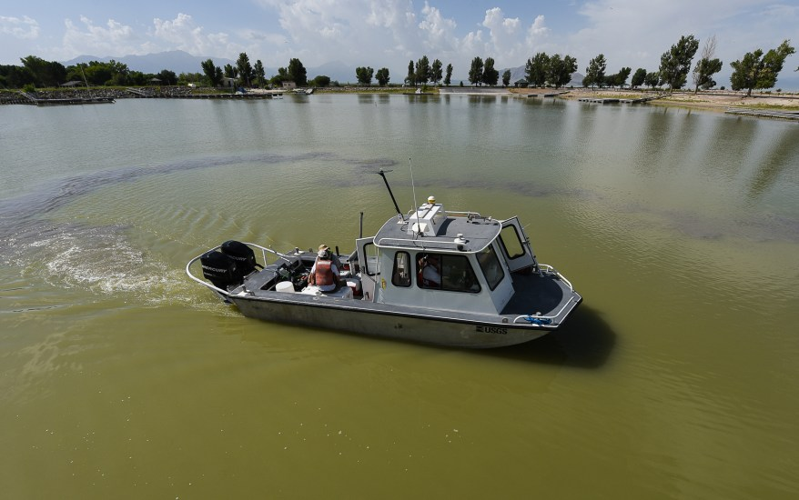 Francisco Kjolseth | The Salt Lake Tribune U.S. Geological Survey scientists conduct an experimental study on Utah lake on Wednesday, Aug. 10, 2016, to gain a better understanding of nutrient levels, which could help in understanding how to best manage algal bloom outbreaks. The pilot project is using new technology to measure the distribution, occurrence, and concentration of nutrients in in both Utah Lake and Gilbert Bay of the Great Salt Lake.