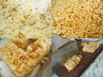 Caramel with puffed rice – before and after