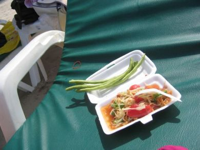 papaya salad on the beach