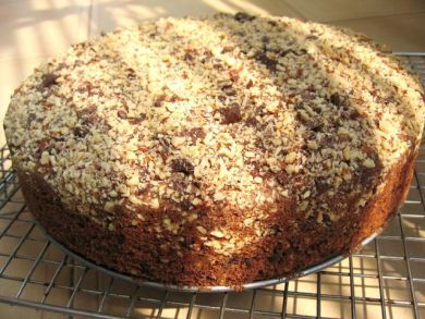 an entire wholemeal chocolate almond coffee cake