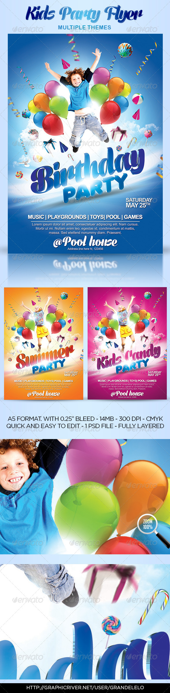 Kids party flyer themes