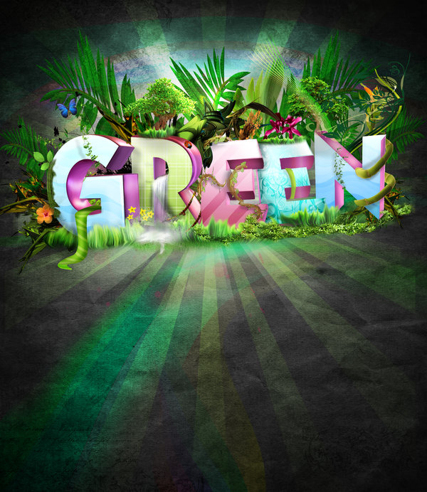 green poster typography