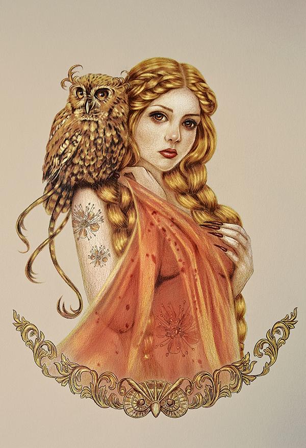 Blodeuwedd - owl maiden Faber-Castell pencils