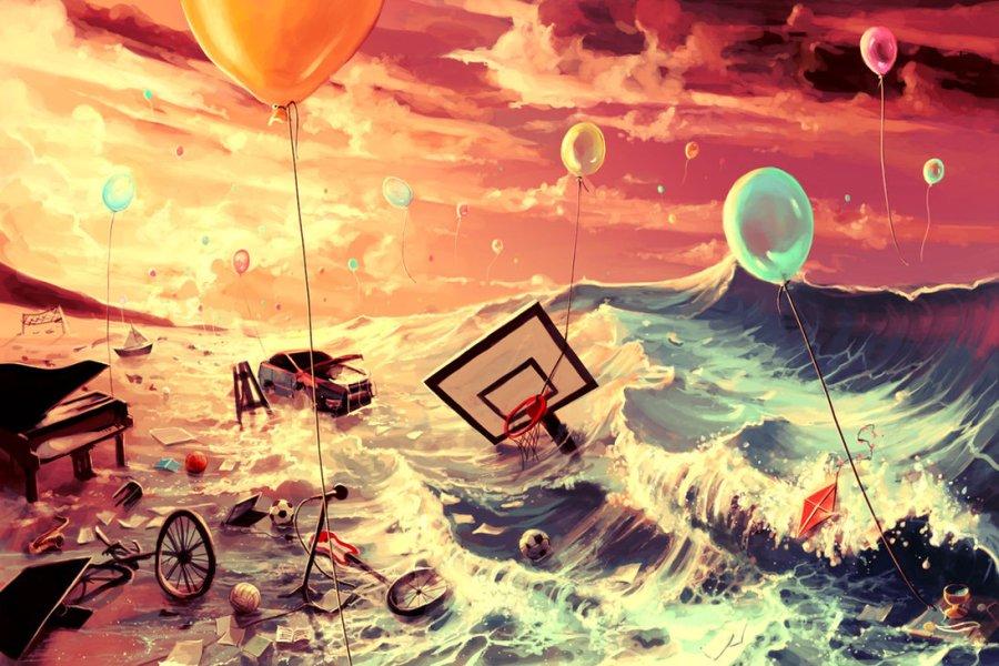dreams water ocean car cycle balloons