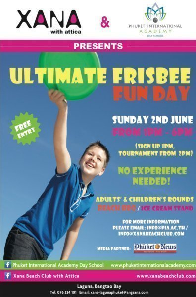 Phuket beach club to hold Ultimate Frisbee Fun Day