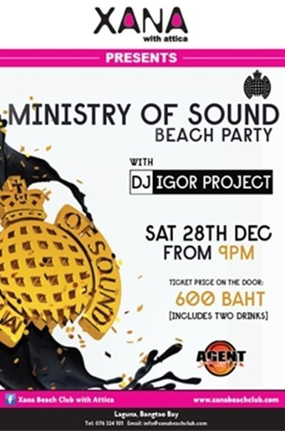 Phuket's XANA partners with Ministry of Sound for mega beach party