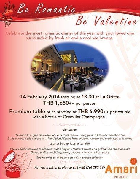 Romantic Valentine's Day dinner at Amari Phuket
