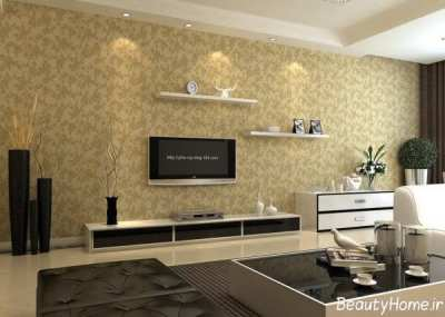 کاغذ دیواری پشت تلویزیون و ال سی دی با طرح های جدید و شیک
