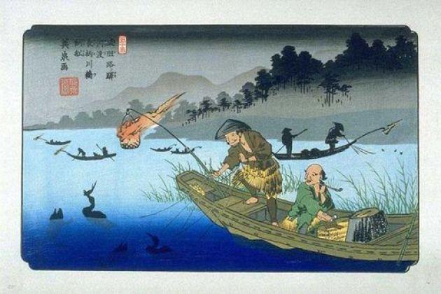 唉喲喂呀~!被掐住脖子的補魚鳥….長良川的夏日風物詩