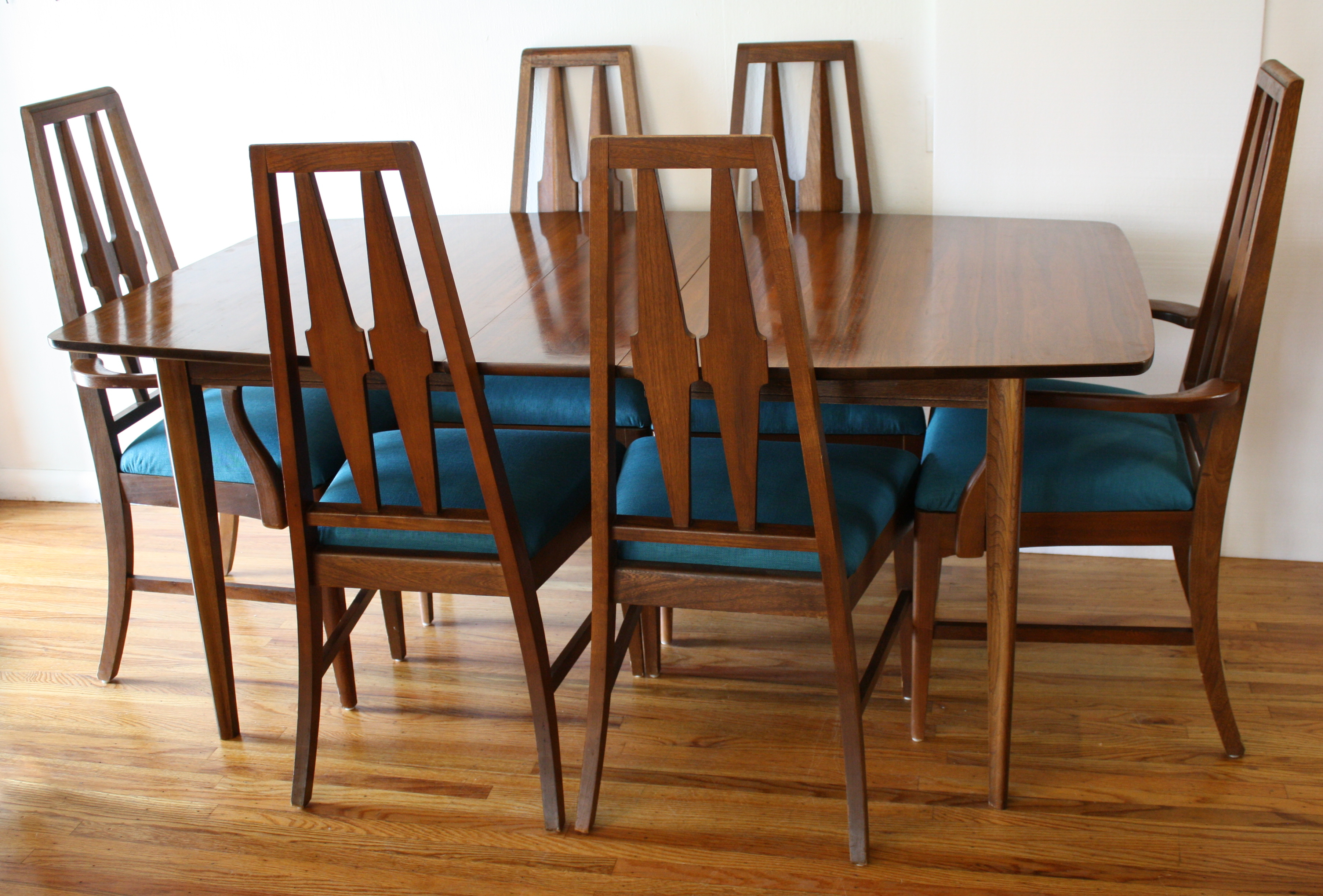 dining table tables teal kitchen chairs Broyhill Brasilia dining table and Broyhill dining chairs 1 JPG