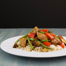 Chicken and Green Bean, Bell Pepper, Mushroom Stir-Fry