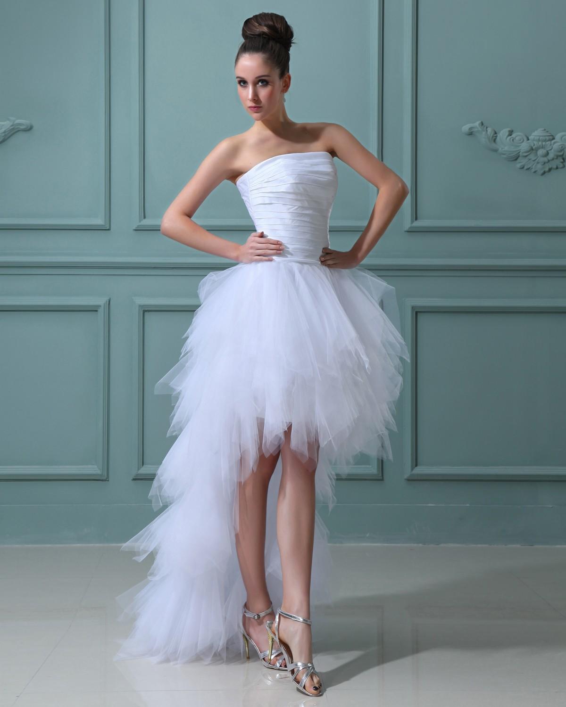 short cheap wedding dresses Cheap Great Elegant Ruffles Yarn Strapless Short Bridal Gown Wedding Dress HuLu