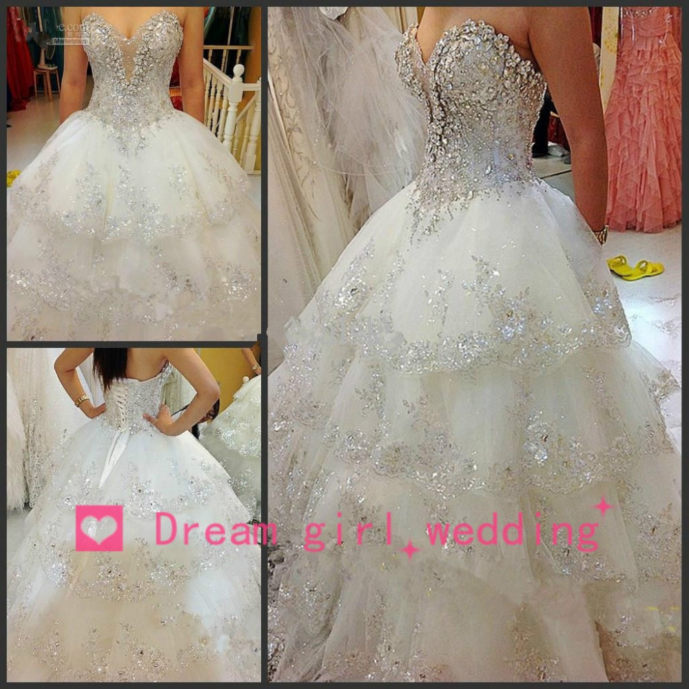 luxury wedding dresses Aliexpress com Buy Newly Romantic Luxury Wedding Dress Sequined Beaded Top White Wedding Gowns Open Back