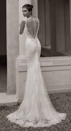 lace backless wedding dress Aliexpress com Buy Fashion Sexy Mermaid Backless Wedding Dress Gowns Sweetheart Elastic Material Long Bridal Gowns Lace Train Custom from Reliable