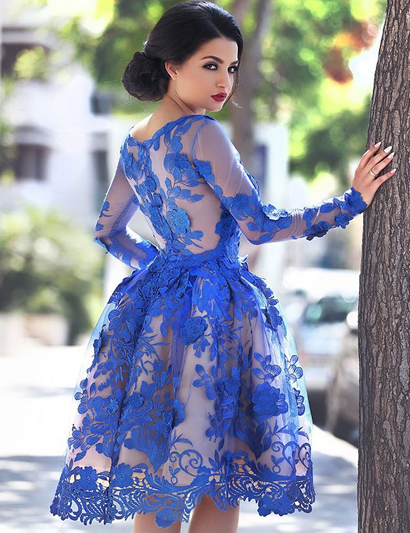 aliexpress wedding dresses Aliexpress com Buy Royal Blue Short Prom Dress Vintage Lace A Line Short Prom Dresses Elegant Long Sleeve Prom Dress Formal Dresses For Women from