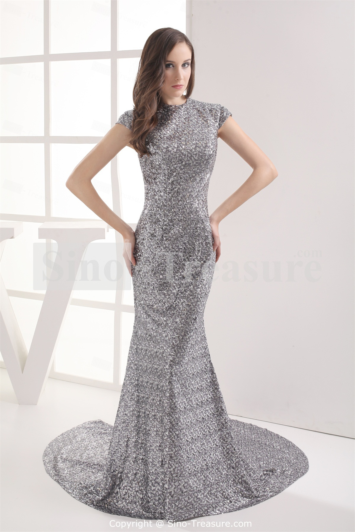 silver wedding dresses Sleeveless Spring Hourglass Brush Train Split Silver Sequins Dresses 00 Be Radiant In Affordable Wedding Dresses
