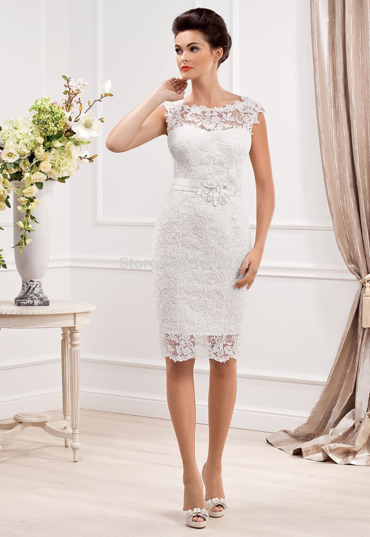 pencil wedding dresses Short Wedding Dress Lace Fabric with Sashes Cap Sleeves High Neck Sheath Knee Length Vestido De Noiva
