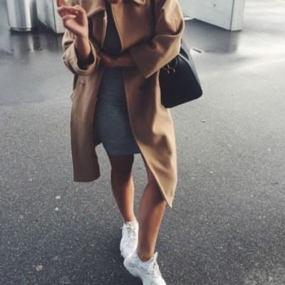 coat, tumblr, camel coat, sneakers, white sneakers, dress ...