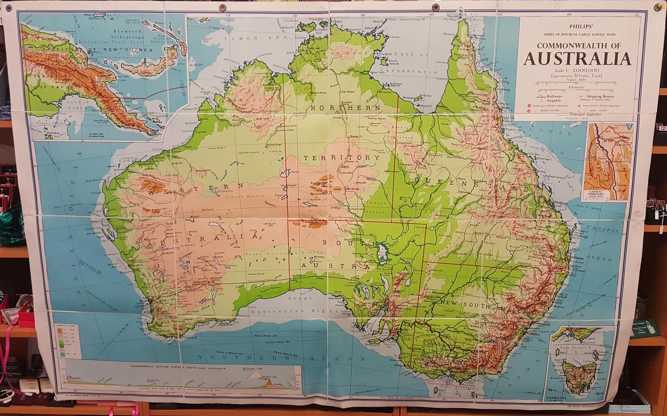 Philips  Large School Room Map of Australia   Physical   George     Philips  Large School Room Map of Australia   Physical