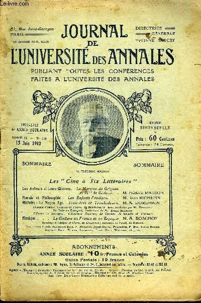 JOURNAL DE L'UNIVERSITE DES ANNALES 6e ANNEE SCOLAIRE N°13 - Les Auteurs et leurs uvres.Le ...