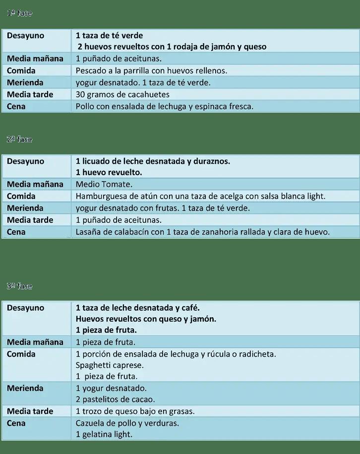 Dieta atkins menu semanal chile 5