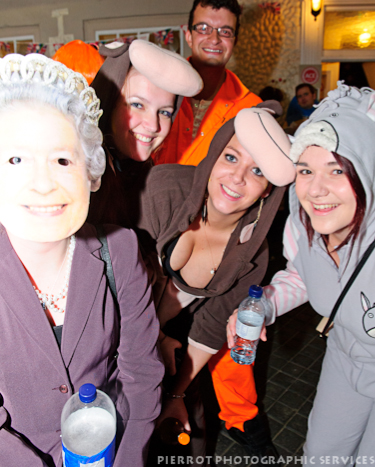 Cromer carnival fancy dress group wih the Queen
