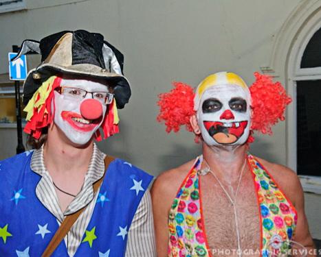 Cromer carnival fancy dress two happy clowns
