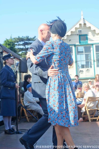 1940s couple dancing at the 1940s weekend at Sheringham 2012