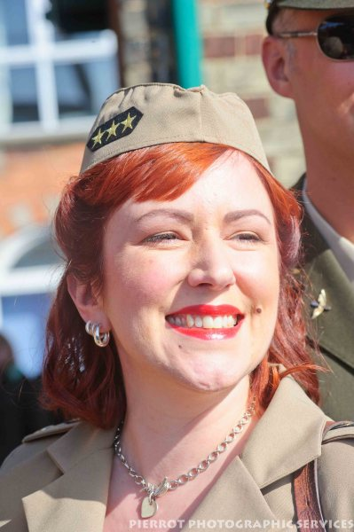 Pretty girl in American uniform at the 1940s weekend in Sheringham 2012
