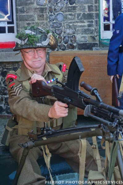 British Tommy with machine gun at the 1940sweekend at Sheringham 2012