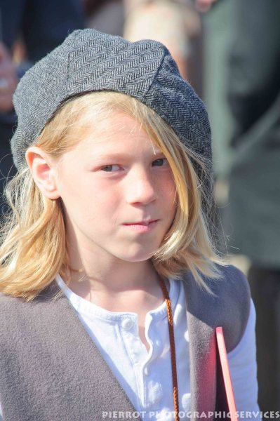 Young girl in period hat at the 1940s weekend at Sheringham 2012